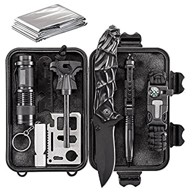 WORSPODAY Emergency Survival Kit - Folding Knife, Paracord Bracelet, Emergency Blanket, Fire Starter, Flashlight, Whistle etc - Camping, Hiking, Hunting Survival Gear (survival kit)