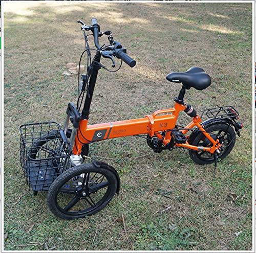 Xiaokang Anti-Rollover Multifuncional Triciclo Plegable Coche Eléctrico Scooter Adulto Batería Batería Pequeña Bicicleta Eléctrica,A,14A