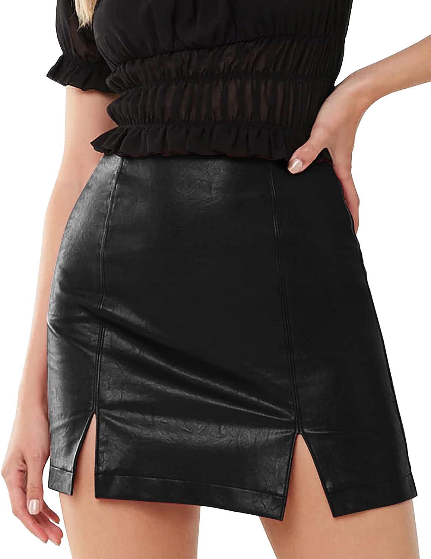 MANGOPOP Women's Basic High Waist Faux Leather Bodycon Mini Pencil Skirt