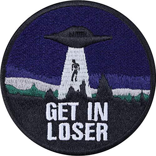 Applicaties: GET IN Losse Alien opstrijkbare hipster patch biker patches grappige strijkplaatjes UFO sticker om op te naaien cadeau Sci-Fi applicatie voor jacks/leder/T-shirts/jeans/tassen 75x75mm