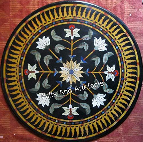 Cottage Handicrafts - Mesa redonda de mármol, color negro