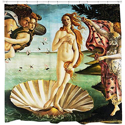36X72 Zoll,Geburt Der Venus Duschvorhang Wasserdichtes Gewebe Mehltau Beständig 12 Haken Enthalten