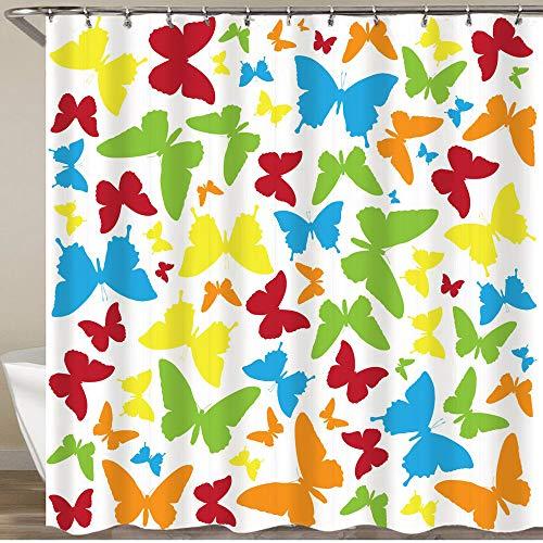 KGSPK Duschvorhang,Schmetterling auf weißem Hintergr& mit Beschneidungspfad Gelbgrün Blaue Flügel,Wasserfeste Bad Vorhang aus Polyestergewebe mit 12 Haken Duschvorhang 180x180cm