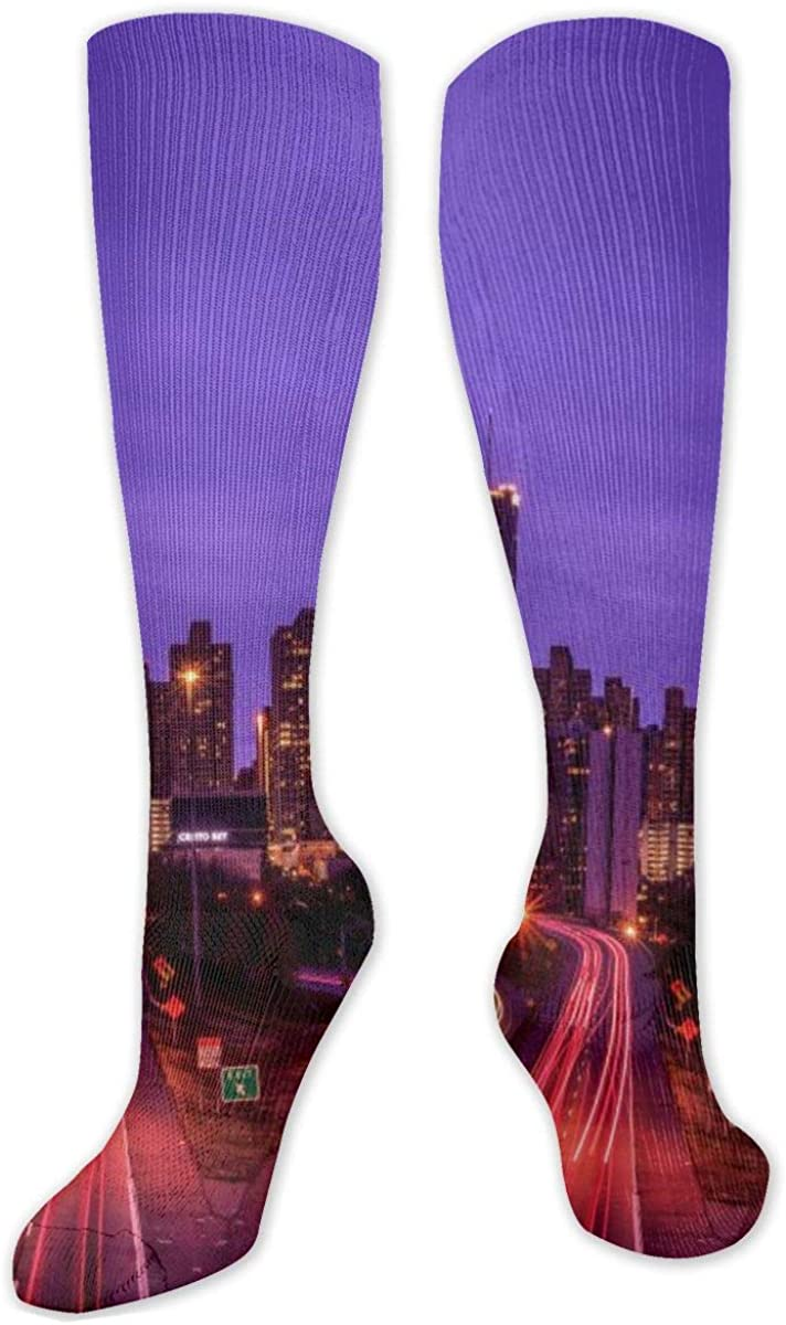 City Image Atlanta Skyline Knee High Socks Leg Warmer Dresses Long Boot Stockings For Womens Cosplay Daily Wear