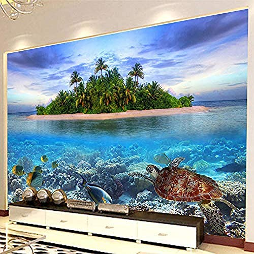 Muursticker Hd Underwater World Marine Organism Photo Mural Wallpaper voor Aquarium Decoratie Binnendecoratie Muurschildering Papel De Parede 3D 150 x 105 cm.