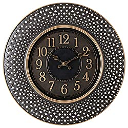 Pacific Bay Warendorf Large Decorative Light-Weight 16-inch Wall Clock Silent, Non-Ticking, 3-D Aluminum Dial, Easy-to-Read, Quartz Battery Operated, Glass Face Cover - Perfect