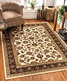Noble Sarouk Ivory Persian Floral Oriental Formal Traditional Area Rug 8x10 8x11 ( 7'10' x 9'10' ) Easy Clean Stain Fade Resistant Shed Free Modern Contemporary Traditional Soft Living Dining Room Rug