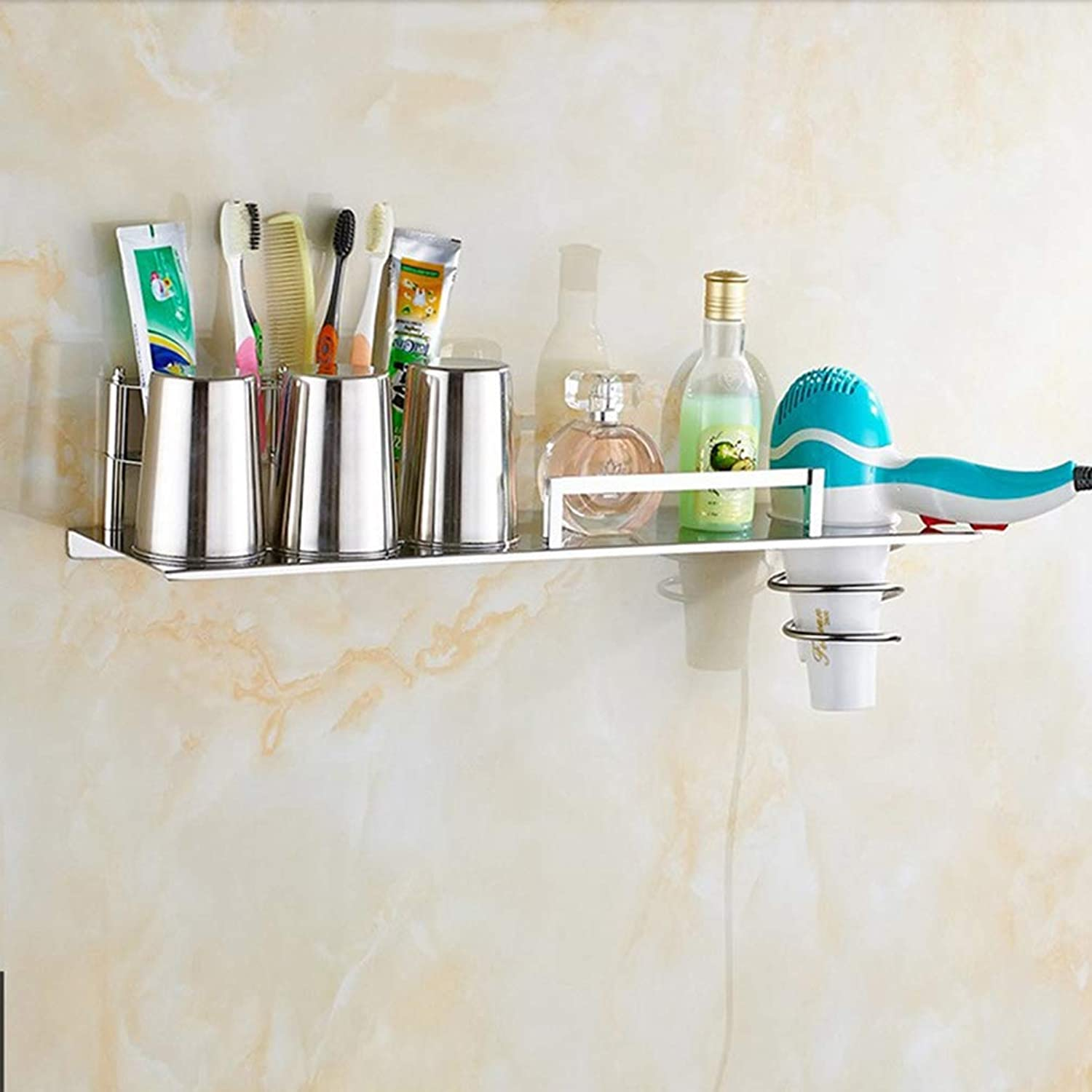 LUDSUY Bathroom accessories304 Stainless Steel Bathroom Toothbrush Holder Hair Multifunctional Rack with The Rack Bar with Rack Cup with A Hook, B