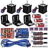 Kuman 3Dプリンター セット Arduinoに交換 CNCキット R3ボード+CNCシールドV3+A4988ドライバ+ヒートシンク+Nema17ステッピングモータ+機械的スイッチEndstop GRBL 0.9交換 実験用 電作キット KB02