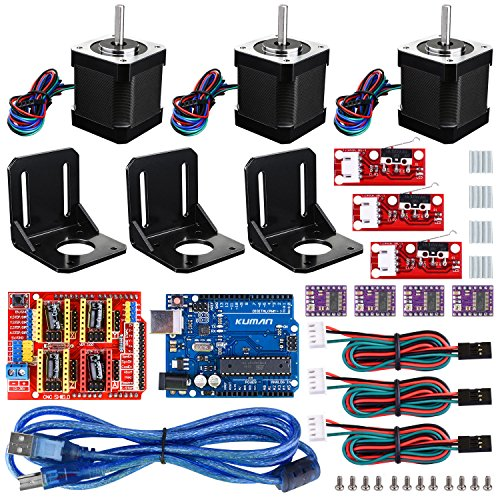 Professional 3D printer CNC Kit, Kuman GRBL CNC Shield+ R3 Board+RAMPS 1.4 Mechanical Switch Endstop+DRV8825 A4988 Stepper Motor Driver with heat sink+Nema 17 Stepper Motor KB02