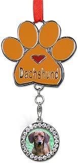 BANBERRY DESIGNS Dachshund Christmas Ornament - I Love My Dachshund Pawprint with a Photo Charm - Dog Christmas Ornament