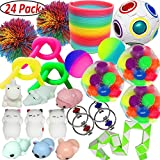 Jalousie 24 PCs Sensory Toy Fidget Stress Relief Toy for Adults and Kids - Conform to ASTM Toy Standard Value Bundle - Include Squeeze Balls Stretchy Strings Squishy Toy Puzzle Rubber Stringy Ball