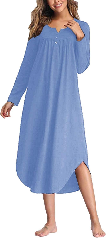 SUNNYME Nightgowns for Women Long Sleeve Sleepshirt Solid Nightdress V-Neck Pleated Sleepwear Dress Curve Hem Loungewear