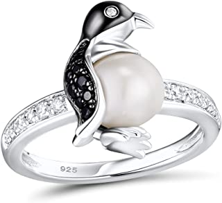 925 Sterling Silver Penguin Ring Rhodium Plated with Fresh Water Pearl Black Spinel White Cubic Zirconia Stone for Women Girls