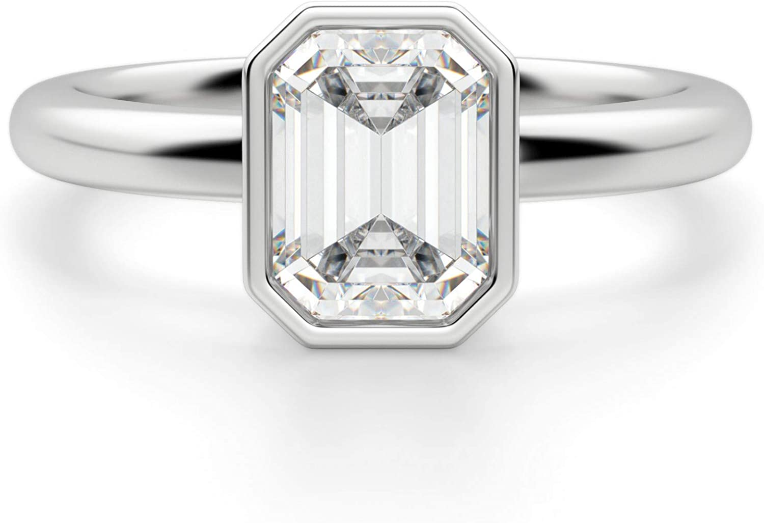 Mail order Bhumi Gems 3CT Emerald Colorless VVS1 Moissanite Ring Engagement Max 47% OFF