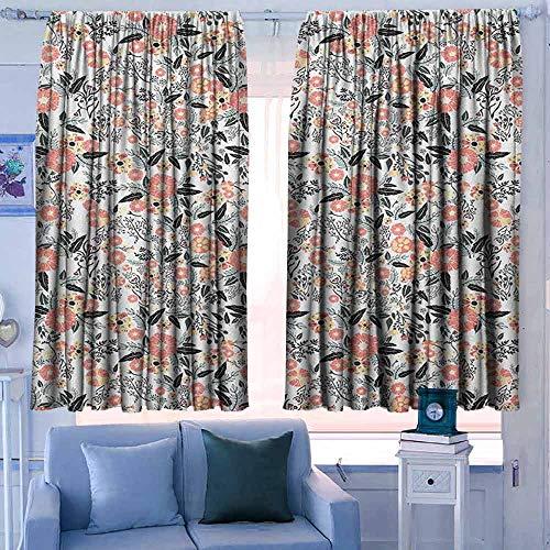 Lovii venster verduisteringsgordijnen staaf zak gordijn panelen voor slaapkamer & keuken tuin kunst bloeien lente Flora in groene tinten Ditsy stijl natuur Geïnspireerd patroon Multi kleuren