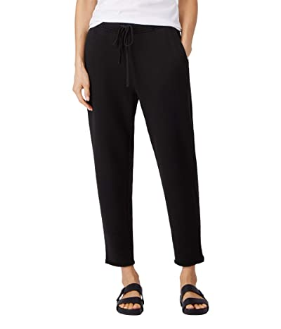 Eileen Fisher Organic Cotton French Terry Ankle Track Pants (Black) Women