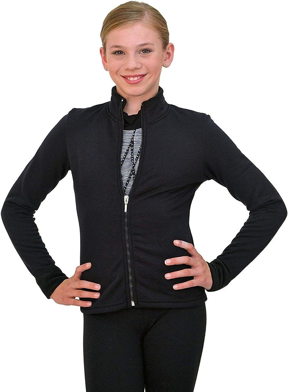 ChloeNoel Figure Skating Solid Polar Fleece Fitted Jacket by Polartec J11 Black