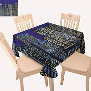 UHOO2018 Digital,Solid Design Tablecloth Cartoon Design Cityscape with Square Light Seemed Image Kids Room Artwork Great for Buffet Table, Parties, Dark Blue and Yellow 36