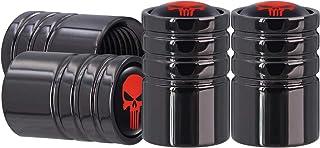 AOOOOP Red Skull Car Tire Valve Caps - Gun Black Wheel Tire Air Stem Dust Cover Brass Auto Exterior Accessory Fits Cars/Tr...