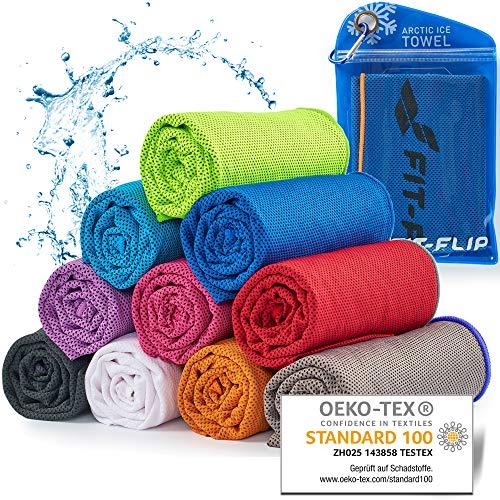 Cooling Towel für Sport & Fitness, Mikrofaser Handtuch/Kühltuch als kühlendes Handtuch für Laufen, Trekking, Reise & Yoga, Cooling Towel, Farbe: dunkel blau-oranger Rand, Größe: 100x30cm