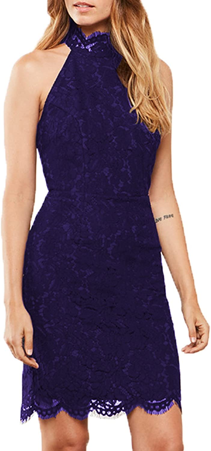 WOOSEA Women's Cocktail Dress High Neck Lace Dresses for Special Occasions