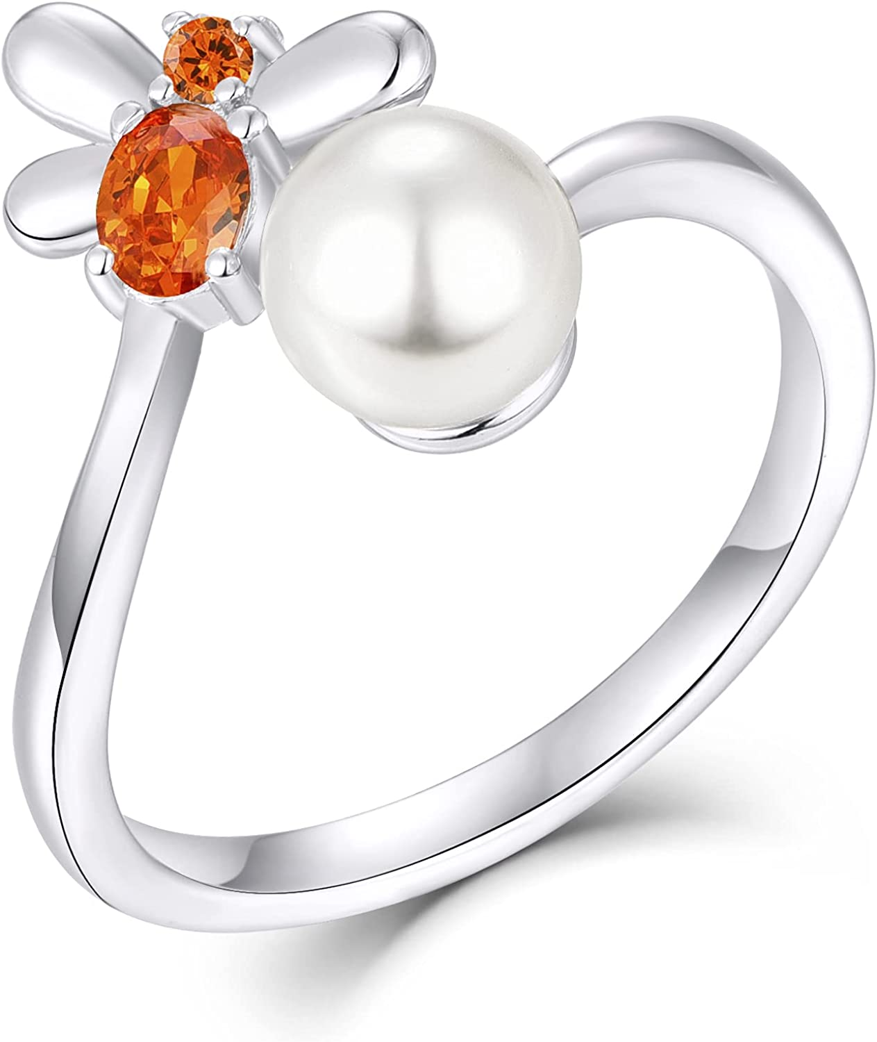 FJ Women 6MM Pearl Bee Ring Sterling 925 Open OFFicial mail New sales order Animal Silver