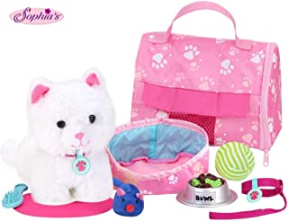 """Sophia's 18"""" Doll Sized Pet Cat with Carrier, Bed & Accessories 10Piece Set 6"""" Soft White Kitten (Renewed)"""