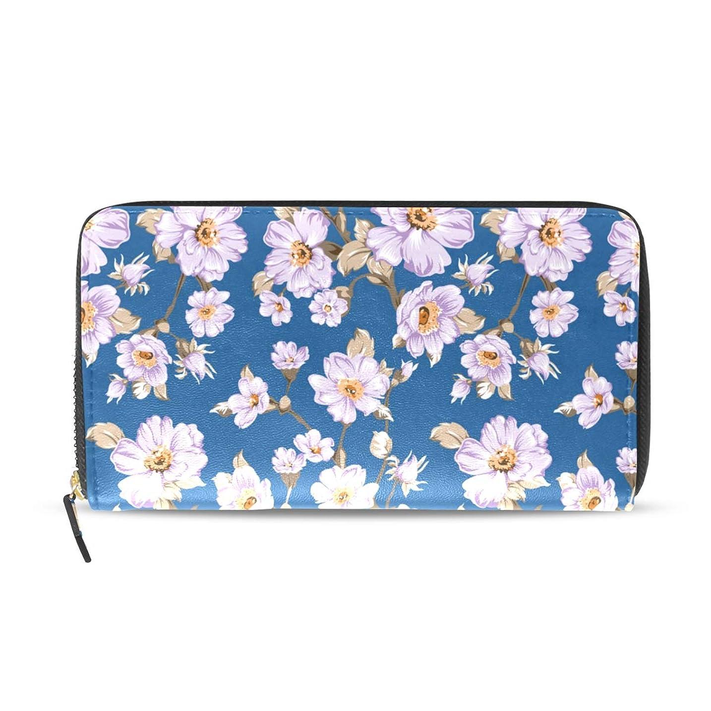 マイコンかかわらず住居旅立の店 長財布 人気 レディース メンズ 大容量多機能 二つ折り ラウンドファスナー PUレザー さくら 桜の花 青い ウォレット ブラック