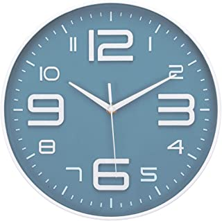 Wall Clock Silent No Ticking Accurate Quartz Sweep Movement Modern Decor for Kitchen, Living Room, Bedroom, Office Black Navy