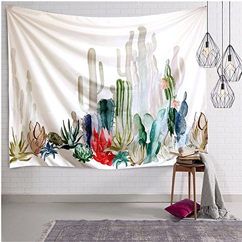 Pertongty Cactus Landscape Wall Hanging Mandala Bohemian Tapestry Cactus Tapestry Watercolor Indian Home Decor (Large-59.1'X82.7', Pattern 01)