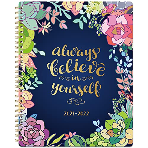 """2021-2022 Planner - Weekly & Monthly Planner 8"""" x 10"""" 2021 July - 2022 June with Flexible Hardcover, Strong Twin- Wire Binding, 12 Monthly Tabs, Two- Side Inner Pocket, Elastic Closure"""