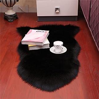 WZHZJ Tapis en peau de mouton en laine artificielle douce salon chambre housse de chaise moelleux poilu antidérapant tapis...