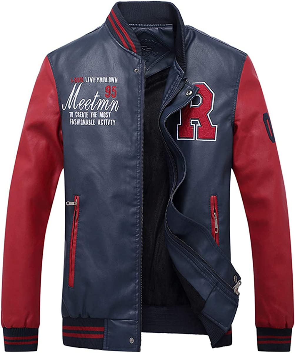 LBL Men's Baseball Jackets Slim Fit Fleece Varsity Jacket Stand Collar Warn Winter Leather Coats