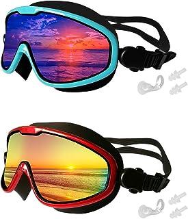 MOTOEYE Swim Goggles Pack of 2,One-Body Big Mirrored Lens...