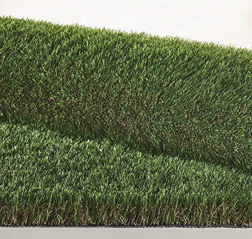 IlGruppone Prato Finto Erba Sintetica Tappeto erboso drenante Esterno Effetto Secco 4 cm - Verde/Marrone - 1 x 4 m