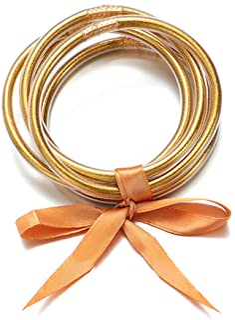 ATIMIGO Bowknot Jelly Bangle Bracelets Set Lightweight Cute Glitter Filled Stack Silicone Party Bracelets for Women Girls