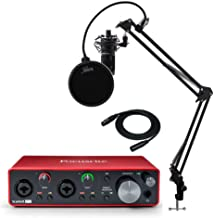 Focusrite Scarlett 2i2 3rd Gen 2x2 USB Audio Interface Bundle with AT2020 Mic, Knox Studio Stand, Shock Mount, Pop Filter and XLR Cable (6 Items)