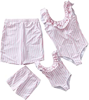 Yaffi Family Matching One Piece Swimsuit Blossom Roses Floral Ruffle Bathing Suit Mommy and Me Monokini Beach Wear