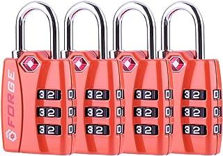 Bright Colors Orange 4 Pack, TSA Approved Luggage Locks, Zinc Alloy Body, Open Alert Red Indicator
