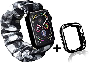 Buffalo Plaid Scrunchie Watch Band for Apple Watch with Black Watch Case by Kraftychix,Cute Soft Scrunchy Watch Band Elastic Strap Compatible/Replacement with Iwatch 38mm 40mm / 42mm 44mm Series 1-5