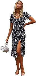 2020 Spring Floral Split High Waist Slim Mid-Length Short-Sleeved Dress,Black,L