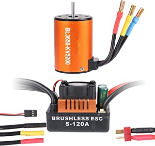 RCruning BL3650 5200KV Brushless Motor High Torque Waterproof with 120A ESC (Electric Speed Controller) for for 1/10 RC Car