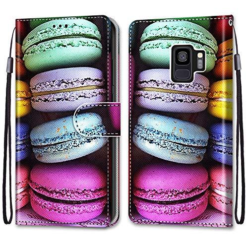Nadoli Handyhülle Leder für Samsung Galaxy S9,Bunt Bemalt Sandwich Kuchen Trageschlaufe Kartenfach Magnet Ständer Schutzhülle Brieftasche Ledertasche Tasche Etui