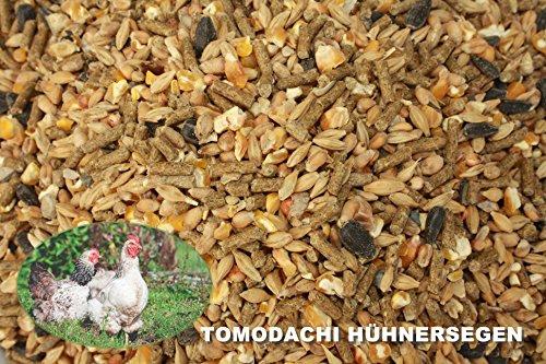Hühnerfutter, Naturprodukt, hochwertiges Vollwertfutter für Geflügel, calziumreiche Komplettnahrung für alle Hühnerrassen, reich an Omega-3 Fettsäuren, natürlicher Immunschutz, Qualitäts Körnermischung für gesunde, glückliche Hühner, Tomodachi Hühnersegen 1kg Eimer - 2