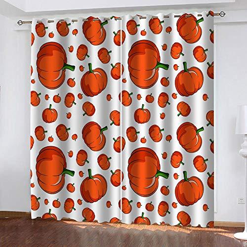 Pompoen oranje verduisteringsgordijnen thermische gordijnen en vlaggen met ogen, isolerend, met voering - (117 x grootte 138 cm x 2 panel)
