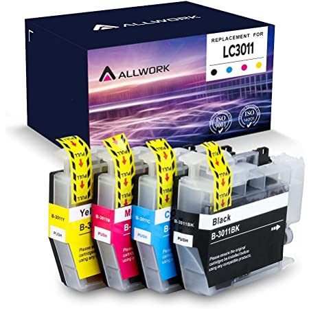 Allwork LC3011 Compatible Ink Cartridges Replacement for Brother 3011 LC3011 Works with Brother MFC-J491DW Brother MFC-J497DW Brother MFC-J690DW Brother MFC-J895DW 4 Packs (KCMY)