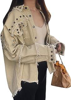 450e0a8a6c7 YUSKYWomen High Low Fold-Collar Studded Denim Jacket with Pockets