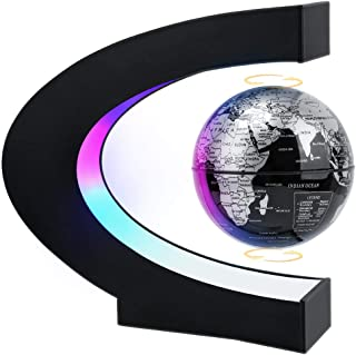 MOKOQI Magnetic Levitation Floating Globe with LED Light, Floating Globes World Desk Gadget Decor in Office Home/Frame Stand, Cool Tech Gift for Men Father Boys, Birthday Gifts for Kids