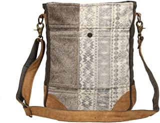 Myra Bag Authentic Vintage Upcycled Canvas & Cowhide Leather Shoulder Bag S-1231, Brown, One Size